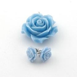 Hanger en oorstekers, roos, babyblauw (1 set)
