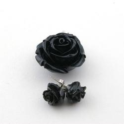 Hanger en oorstekers, roos, zwart (1 set)