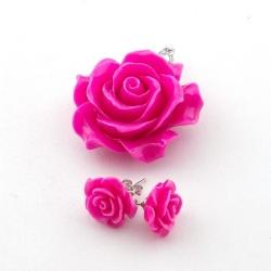 Hanger en oorstekers, roos, fuchsia (1 set)