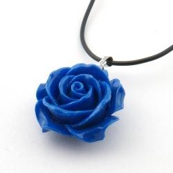 Leren ketting met rooshanger, kobaltblauw (1 st.)