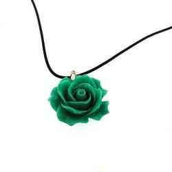 Leren ketting met rooshanger, groen (1 st.)
