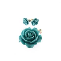 Hanger en oorstekers, roos, turquoise (1 set)