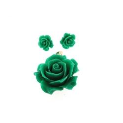 Hanger en oorstekers, roos, groen (1 set)