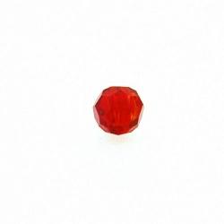 Glaskraal, rond met facetten, rood, 6 mm (streng)