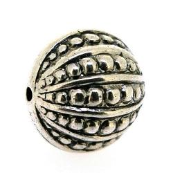 Metallook kraal, rond, zilver, 18 mm (3 st.)