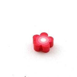 Fimokraal, bloemetje, rood, 10 mm (10 st.)