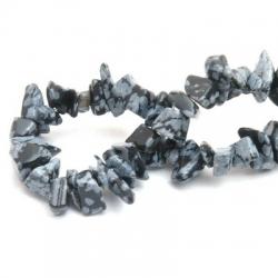 Halfedelsteen, kraal, chips, zwart/grijs (1 streng)