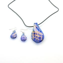 Glashanger aan veterketting met bijpassende oorbellen, blad, blauw (1 set)