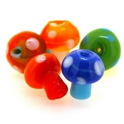 Glaskraal, paddestoel, diverse kleuren, 12 mm (5 st.)