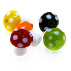 Glaskraal, paddestoel, diverse kleuren, 18 mm (5 st.)