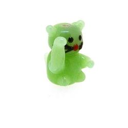 Glas kraal handgemaakt lucky cat groen 20 mm (1 st.)