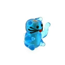 Glas kraal handgemaakt lucky cat blauw 20 mm (1 st.)