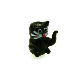 Glas kraal handgemaakt lucky cat zwart 20 mm (1 st.)