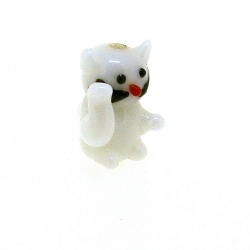 Glas kraal handgemaakt lucky cat wit 20 mm (1 st.)
