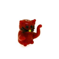 Glas kraal handgemaakt lucky cat rood 20 mm (1 st.)