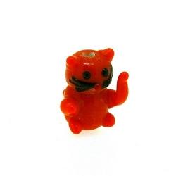 Glas kraal handgemaakt lucky cat oranje 20 mm (1 st.)
