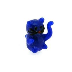 Glas kraal handgemaakt lucky cat donker blauw 20 mm (1 st.)