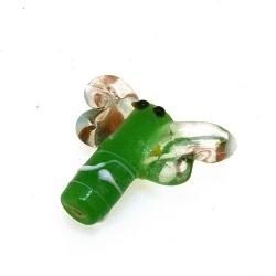 Glas kraal handgemaakt libelle groen 19 mm (1 st.)