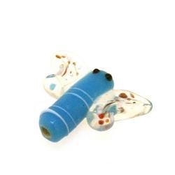 Glas kraal handgemaakt libelle licht blauw 19 mm (1 st.)