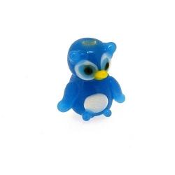 Glas kraal handgemaakt uil blauw 16 mm (1 st.)