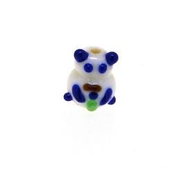 Glas kraal handgemaakt panda wit/blauw 12 mm (1 st.)