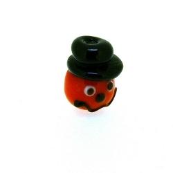 Glas kraal handgemaakt mannetje met hoge hoed oranje/zwart 16 mm (1 st.)