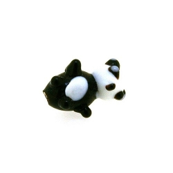 Glas kraal handgemaakt panda zwart/wit 16 mm (1 st.)