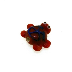 Glas kraal handgemaakt schildpad rood 12 mm (1 st.)