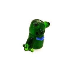 Glas kraal handgemaakt kikker groen 16 mm (1 st.)