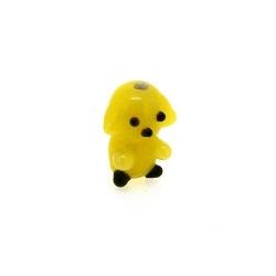 Glas kraal handgemaakt beer geel 16 mm (1 st.)