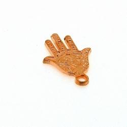 Metaal, bedel, handje, Fatima, roségoud, 22 mm (3 st.)
