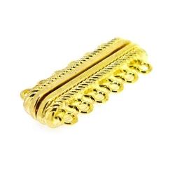 Magneetslot, goud, 6-ogen, 33 x 14 mm (3 st.)