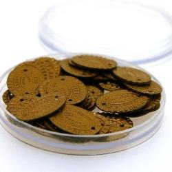 Lovertjes in rond doosje, ovaal, twee rijggaatjes, brons, 17 mm (6 gram)