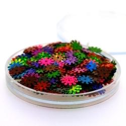 Lovertjes in rond doosje, 'radertje', mix, 8 mm (5 gram)