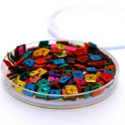 Lovertjes in rond doosje, vierkant, mix, 5 mm (5 gram)
