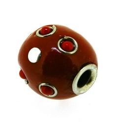 Kashmiri kraal, rond, rood, groot rijggat, 16 mm (5 st.)
