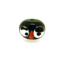 Glas kraal handgemaakt gezicht zwart 10 x 14 mm (1 st.)