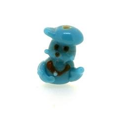 Glas kraal handgemaakt mannetje blauw 17 mm (1 st.)