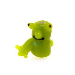Glas kraal handgemaakt mannetje groen 15 mm (1 st.)