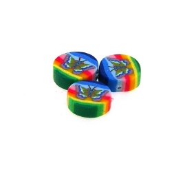 Fimokraal, rond, vlinder, mix, 10 mm (streng)