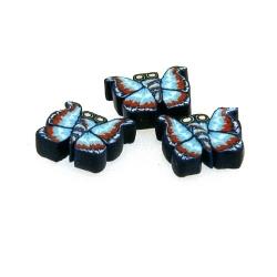 Fimokraal, vlinder, blauw, 10 mm (streng)