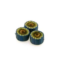 Fimokraal, rond, blauw, zonnebloem, 10 mm (streng)