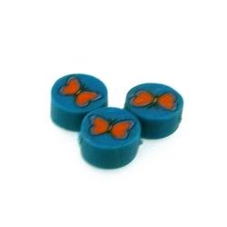Fimokraal, rond, turquoise/oranje, vlinder, 10 mm (streng)