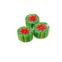 Fimokraal, rond, groen, bloem, 10 mm (streng)