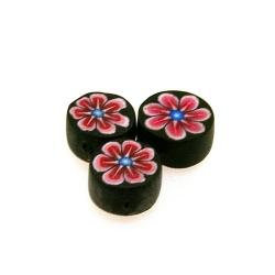 Fimokraal, rond, zwart, bloem, 10 mm (streng)