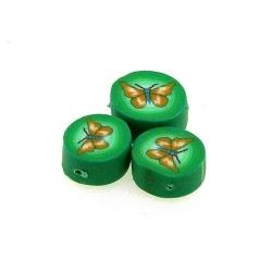 Fimokraal, rond, groen, vlinder, 10 mm (streng)