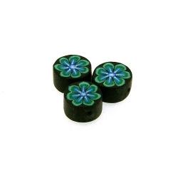 Fimokraal, rond, bloem, zwart/groen, 10 mm (streng)