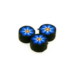 Fimokraal, rond, bloem, zwart/blauw, 10 mm (streng)