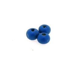 Houten kraal, rond, blauw, 6 mm (25 gram)