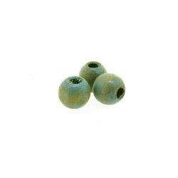 Houten kraal, rond, groen, 5 mm (25 gram)